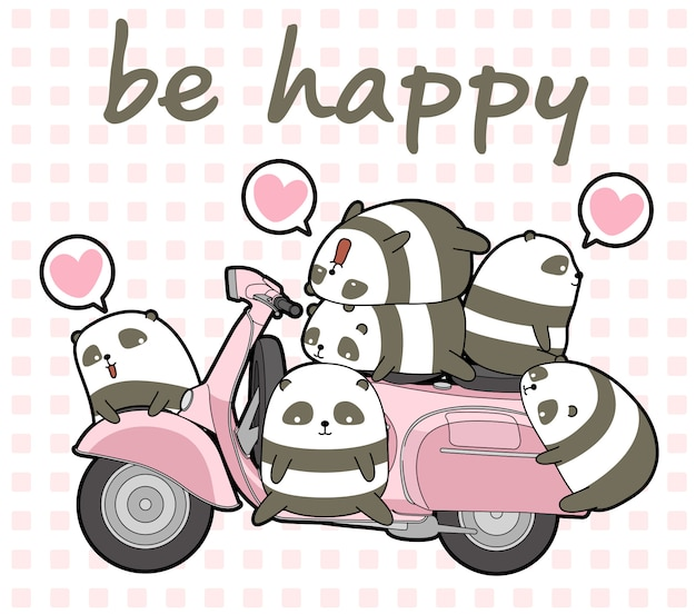 Pandas kawaii et moto rose