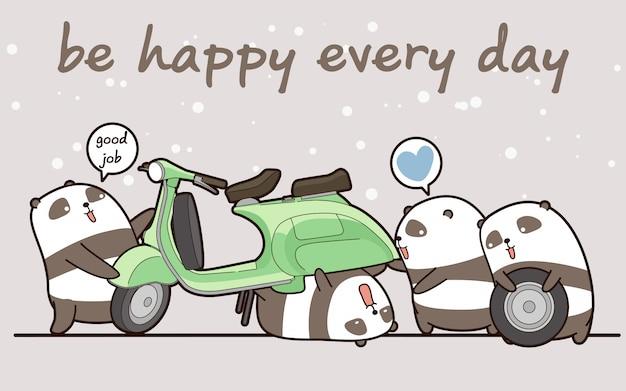 Les pandas mécaniciens de kawaii travaillent