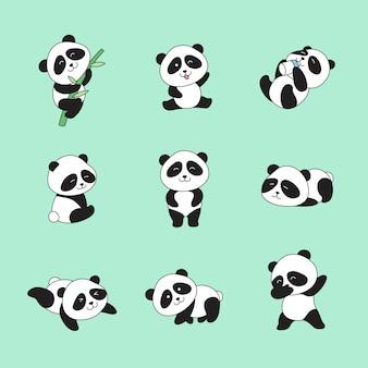 Pandas mignons dessinés à la main