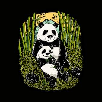 Pandas mignons mangeant une illustration de bambou