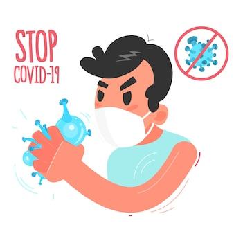 Pandémie de coronavirus. homme masqué et bactéries dans le poing