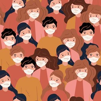 Pandémie de coronavirus. novel coronavirus (2019-ncov) covid-19, personnes en masque facial diy médical. concept de coronavirus. modèle sans couture.