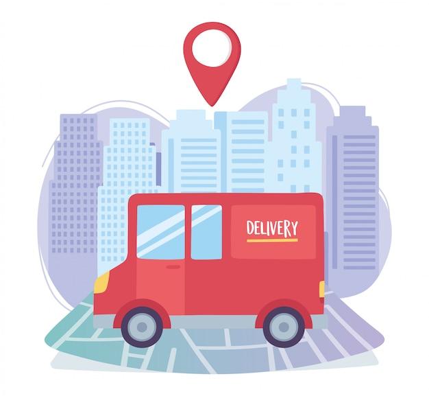 Pandémie de coronavirus, service de livraison, navigation sur carte de transport par camion