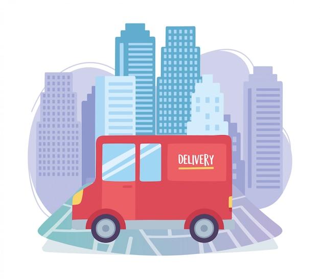 Pandémie de coronavirus, service de livraison, transport par camion dans la ville de la carte