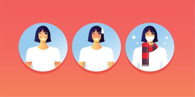 Pandémie de personnages mignons jeunes filles