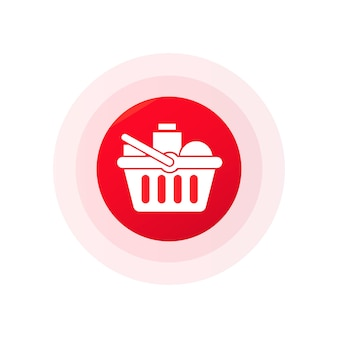 Panier d'achat avec des aliments frais et des boissons. achetez des aliments sains au supermarché. vecteur sur fond blanc isolé. eps 10.