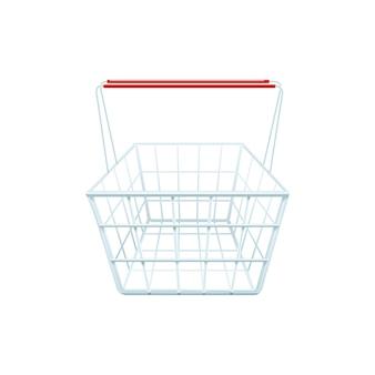 Panier d'achat pour faire du shopping dans un centre commercial ou un supermarché réaliste