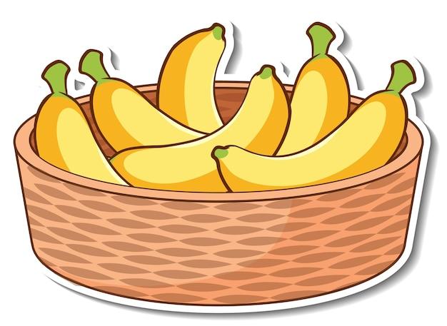 Panier d'autocollants avec de nombreuses bananes