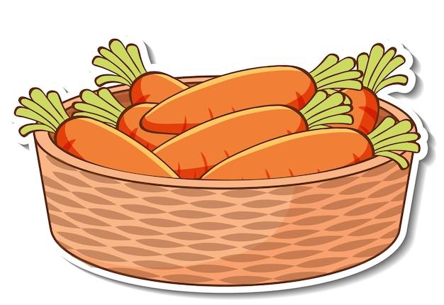 Panier d'autocollants avec de nombreuses carottes