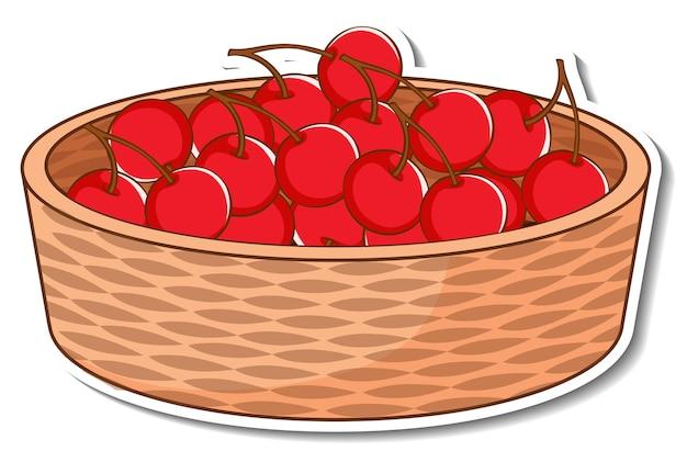 Panier d'autocollants avec de nombreuses cerises rouges