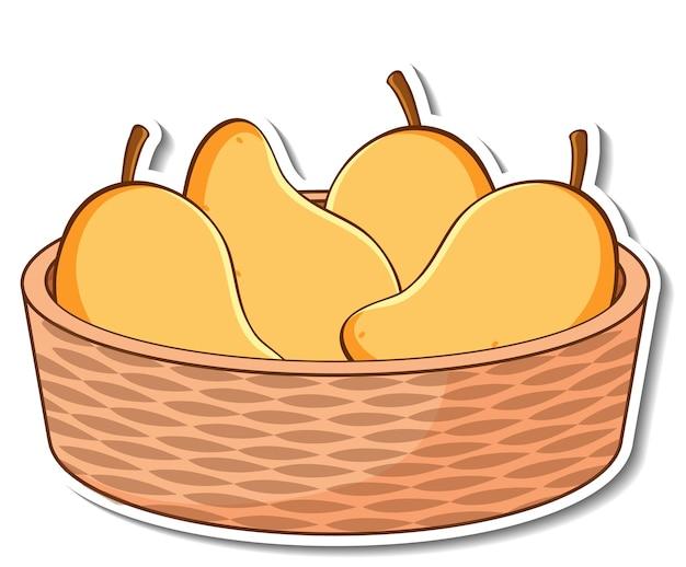 Panier d'autocollants avec de nombreuses mangues