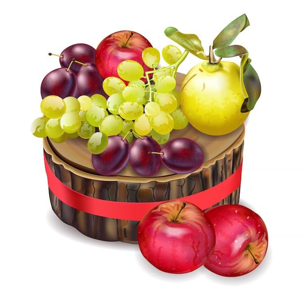 Panier d'automne avec des fruits et légumes
