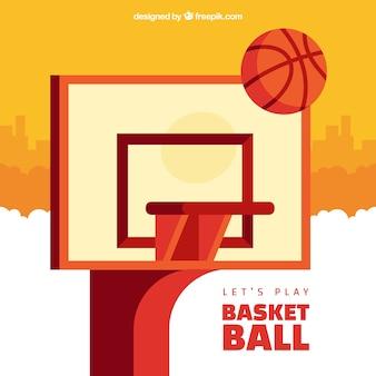 Panier de basket-ball de fond dans la conception plate