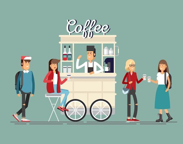Panier de café de rue détaillé créatif ou boutique avec machine à expresso, bouteilles de sirop