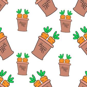 Panier de carottes végétales sans couture textile imprimé. idéal pour le tissu vintage d'été, le scrapbooking, le papier peint, les emballages cadeaux. motif de répétition de la conception de fond