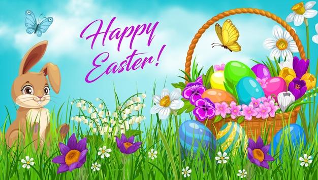 Panier de chasse aux œufs de pâques avec motif lapin