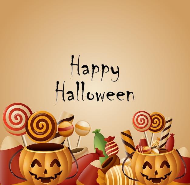 Panier de citrouilles happy halloween carte avec des bonbons