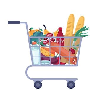 Panier complet avec chariot isolé d'épicerie de magasin plein de nourriture.