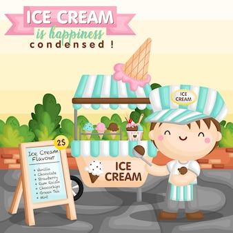 Panier de crème glacée garçon