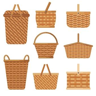 Panier décoratif. le panier artisanal pour les boîtes de produits pour les vacances en camping entrave la collection vectorielle. panier à panier pour pique-nique de détente, illustration en osier de sac écologique