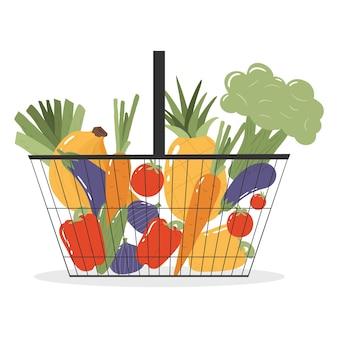Panier D'épicerie Avec Fruits Et Légumes Frais Vecteur Premium