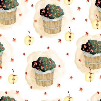 Panier de fleurs automne papier peint aquarelle transparente motif