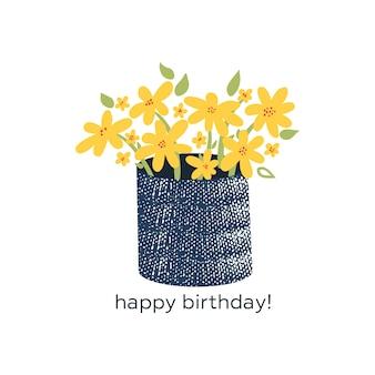 Panier de fleurs jaunes avec texte joyeux anniversaire