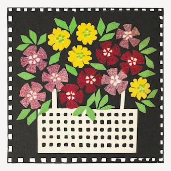 Panier de fleurs vecteur