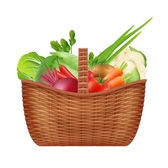 Panier de légumes. panier de conteneur décoratif pique-nique réaliste pour légumes sains naturels isolés sur blanc. panier pique-nique avec illustration de légumes frais