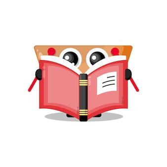 Panier lisant une mascotte de personnage mignon de livre