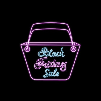 Panier néon pour faire du shopping. texte dessiné à la main du vendredi noir. conception de modèle pour la remise, le bon, les ventes saisonnières de publicité