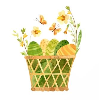 Panier d'oeufs de pâques avec illustration de fleurs et oeufs