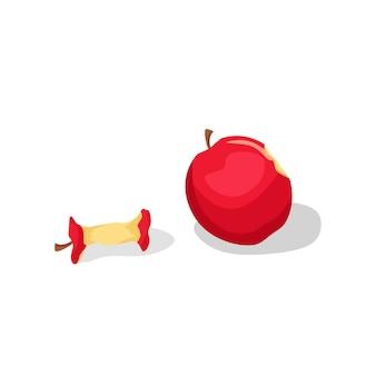 Un panier en osier avec des pommes. composition de dessin animé de vecteur.