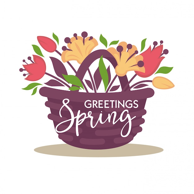 Panier d'osier de salutations de printemps avec bouquet de fleurs