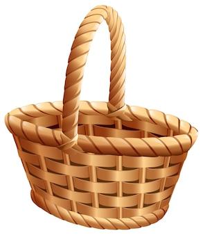 Panier en osier vide avec poignée pour la célébration de la récolte de thanksgiving. isolé sur illustration de dessin animé blanc