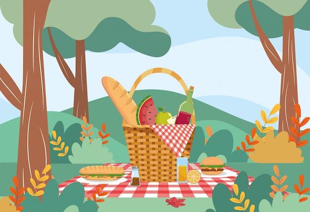 Panier à pain et bouteille de vin à la pastèque