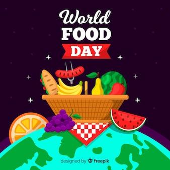 Panier de pique-nique alimentaire mondial sur le globe