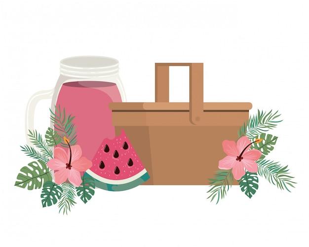 Panier pique-nique avec boisson rafraîchissante pour l'été
