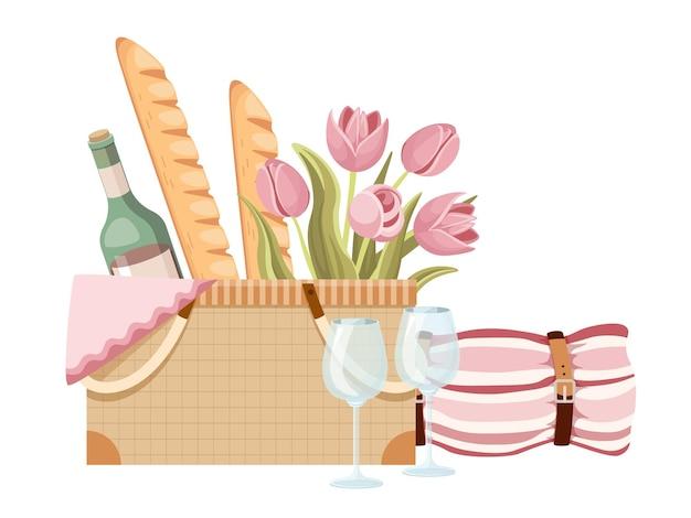 Panier de pique-nique, boîte en osier traditionnelle avec baguettes françaises, fleurs de tulipes, bouteille de vin et verres avec couverture et serviette. panier avec de la nourriture pour les loisirs d'été en plein air. illustration vectorielle de dessin animé