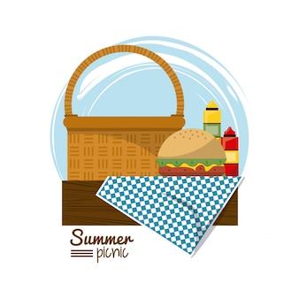 Panier pique-nique sur une nappe avec burger et sauces