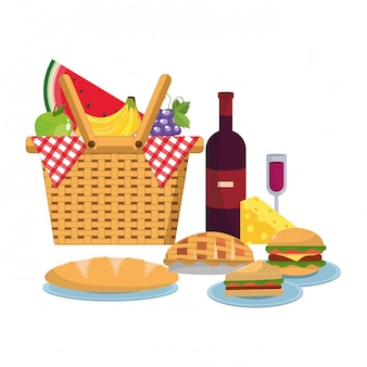 Panier pique-nique avec nourriture