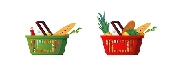 Panier en plastique avec des produits d'épicerie