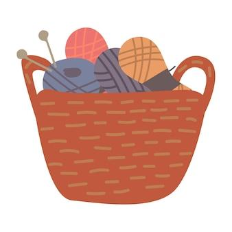 Panier plat avec fils à tricoter pour la conception de tissu. illustration vectorielle colorée dessinée à la main.