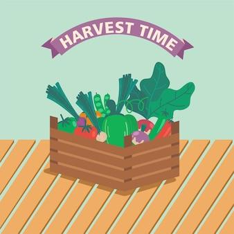 Un panier plein de légumes et de fruits vecteur de saison estivale