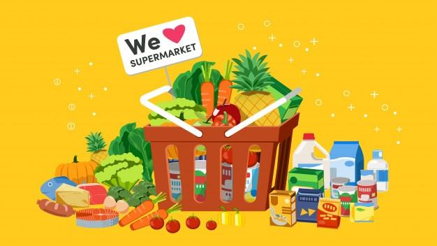 Panier de produits frais des supermarchés