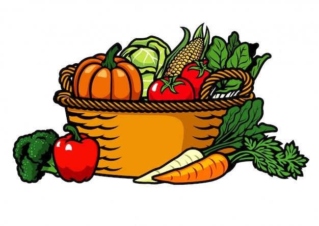 Panier rempli de légumes