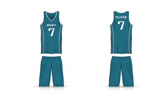 Panier de spécification modèle jersey. t-shirt de sport col v uniforme.