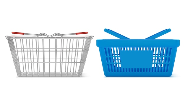 Panier de supermarché en métal réaliste