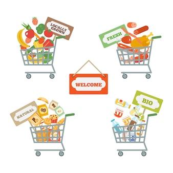Panier de supermarché avec de la nourriture