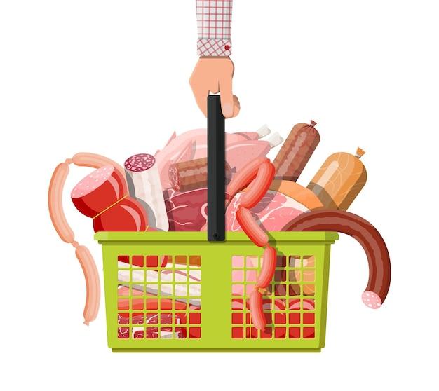 Panier de supermarché plein de viande. côtelette, saucisses, bacon, jambon.
